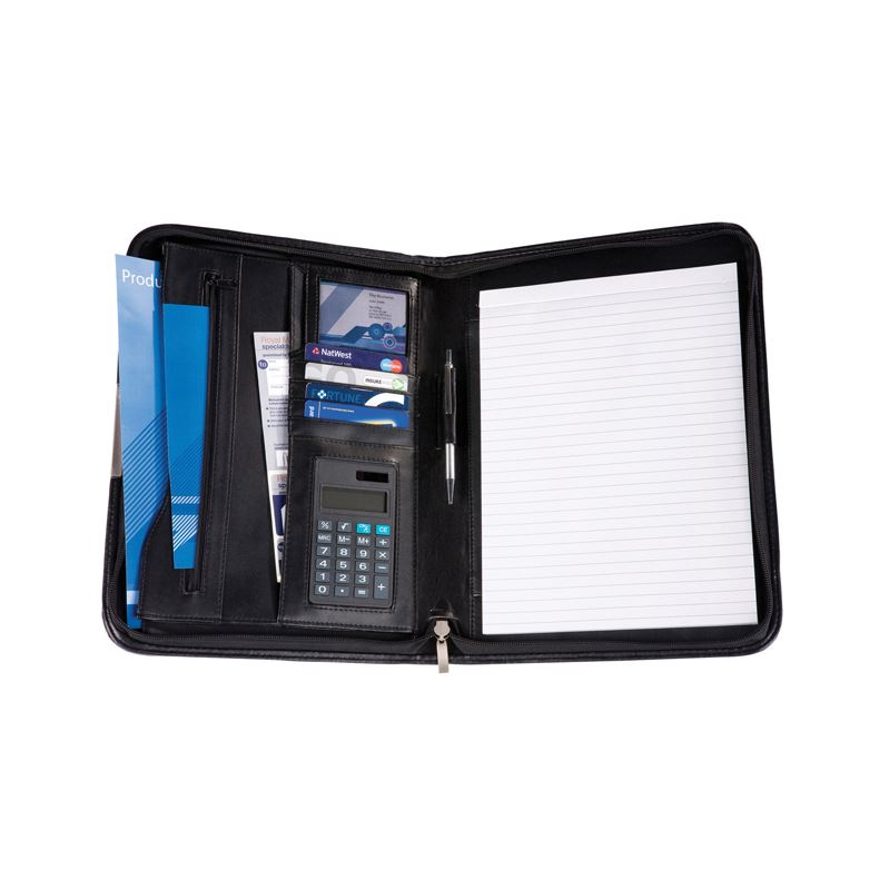 Picture of Black Balmoral Leather A4 Deluxe Zipped Conference Folder With Calculator