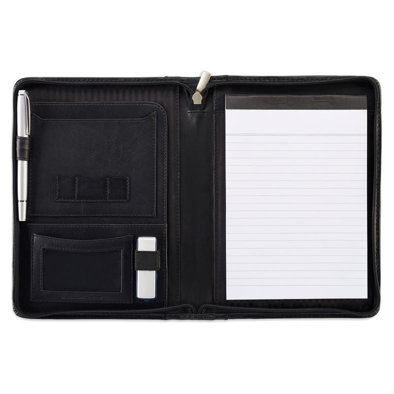 Picture of Black Sandringham Leather Zipped A5 Conference Folder
