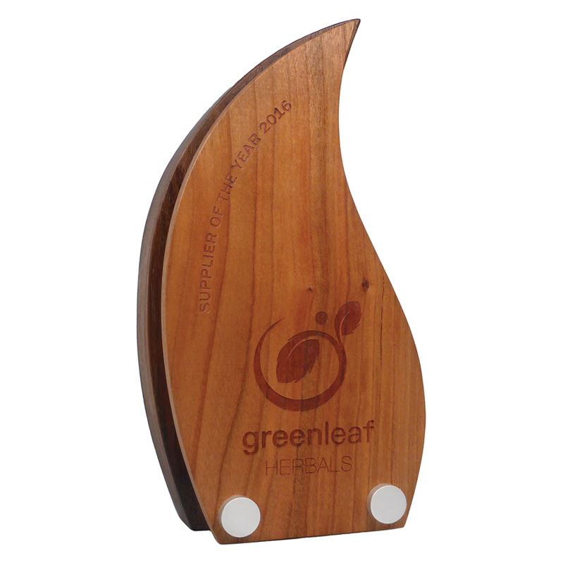 Picture of Real Wood Block Award with Wooden Face Plate