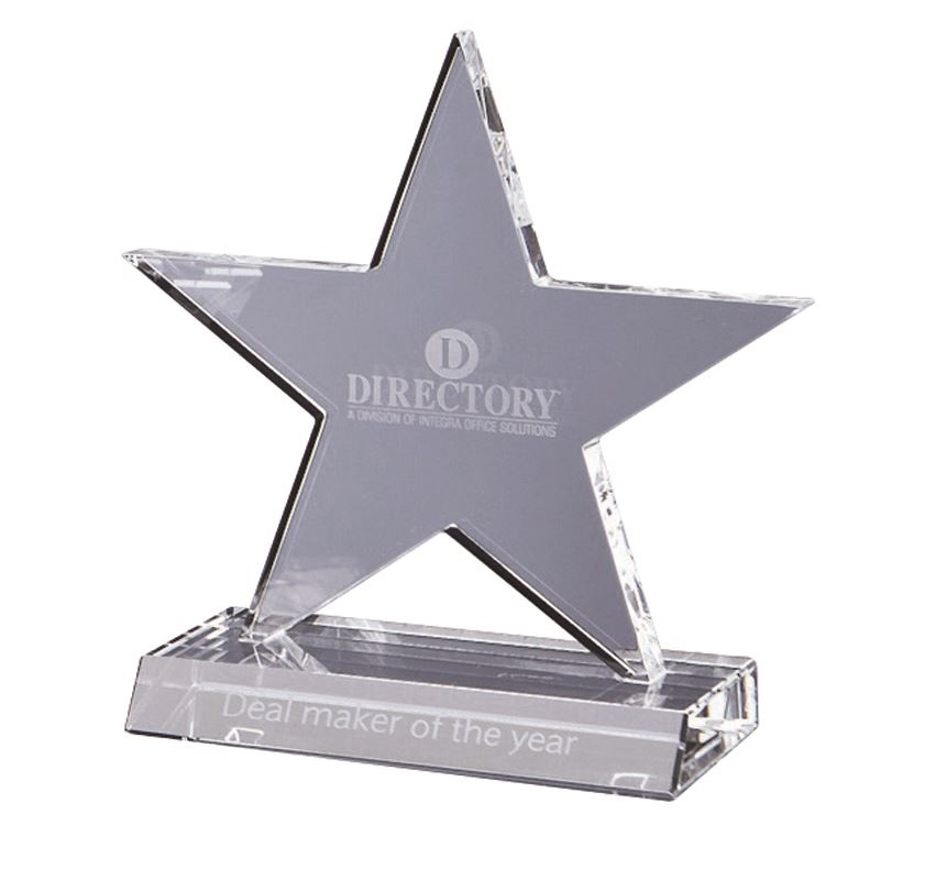 Picture of 13cm Optical Crystal 5 Pointed Star on Base Award