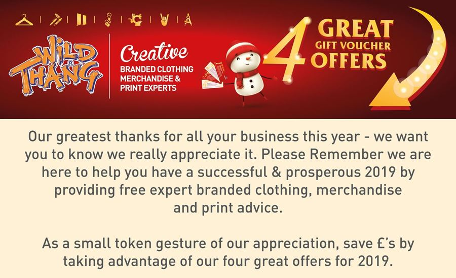 Wild Thang special thank you festive discount vouchers !