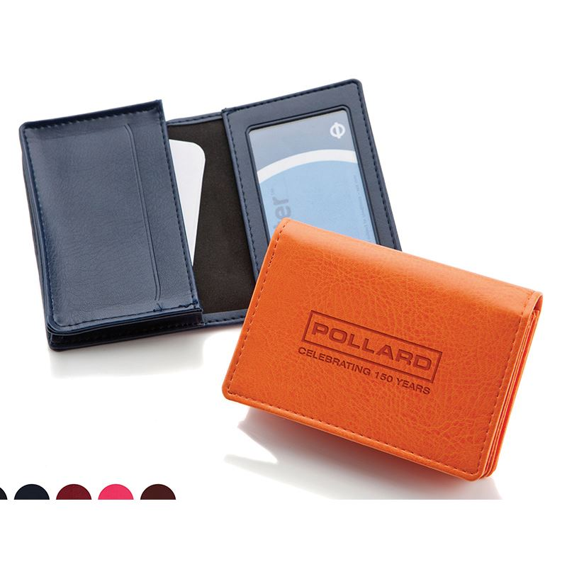 Picture of Belluno Leatherette Deluxe Business Card Dispenser with Framed Window Pocket
